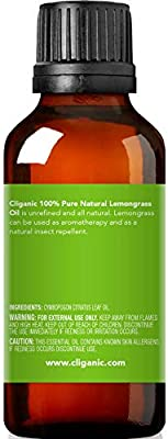 Cliganic 100 Pure Lemongrass Essential Oil 1oz  30ml Natural Lemongrass Oil for Aromatherapy