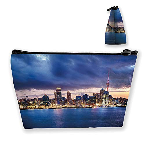 Ladies handbag Cosmetic Bag Wallet,New Zealand Waterfront Travel Destination,Travel and Family Portable Cosmetic Bags ()
