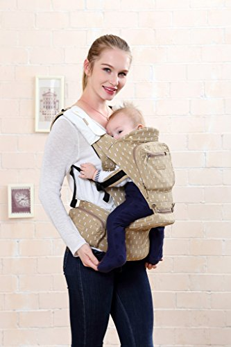 BBWW All Seasons 6-in-1 Classic Baby Child Carrier and Sling with Hip Seat Stool for Infant Toddler,Ergonomic and 100 Cotton w Cool Mesh,Baby Shower Gift