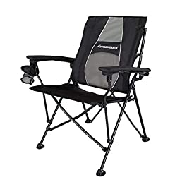 STRONGBACK Elite Folding Camping Lawn Lounge Chair Heavy Duty Camp Outdoor Seat with Lumbar Support and Portable Carry Bag
