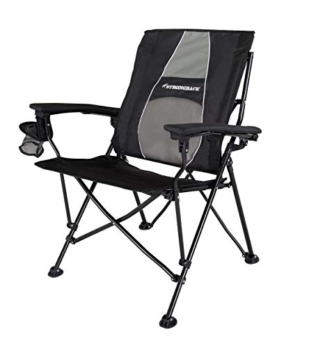 STRONGBACK Elite Folding Camping Chair with Lumbar Support, Black (Best Chair For Bad Back)