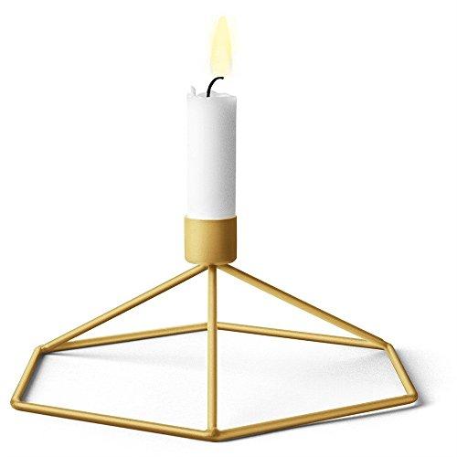 Maikouhai Nordic 3D Metal Geometric Hanging Creative Gift Night Tea Light Table Lantern Candle Holder Candlestick Light Home Decor Lamp, 12x21x18.5cm (Gold)