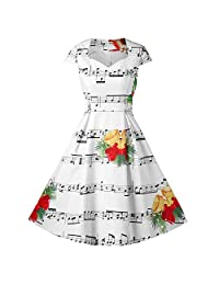 FarJing Fashion Women Merry Christmas Bell Music Print Evening Party Dress