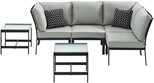 Hanover MUR-6PC-SLV Murano 6Piece Modular Sectional Set - Silver Linings Outdoor Furniture, Gray (Murano Furniture Set)