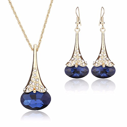 [Women Fashion Water Drop Shape Gold Plated Jewelry Set Necklace Earring of Gemstone Crystal for Costume Show Wedding Party Dance Ceremony] (Affordable Costumes)