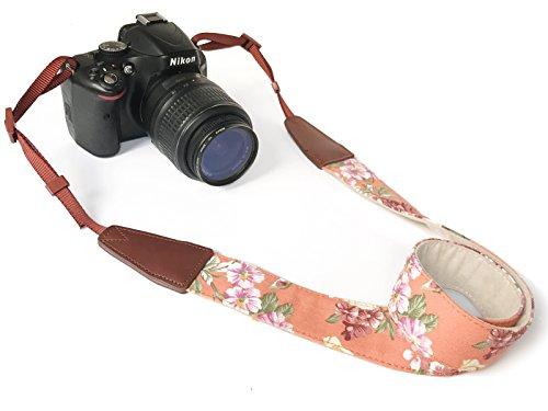 Camera Neck Shoulder Belt Strap,Alled Cowhide Vintage Print Soft Leather Coloful Camera Straps for Women/Men for DSLR/SLR/Nikon/Canon/Sony/Olympus/Samsung/Pentax ETC/Olympus Orange