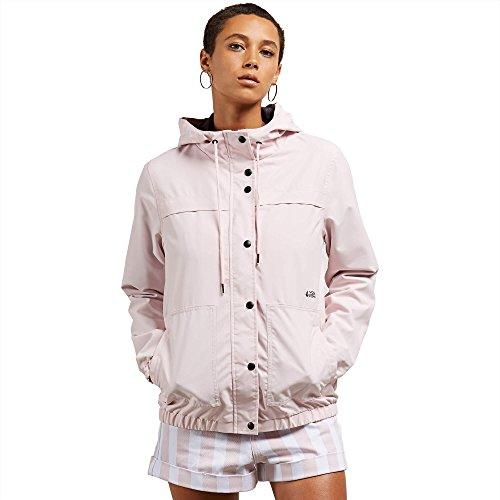 Volcom Junior's Enemy Stone Hooded Zip Front Windbreaker Jacket, Light Pink, XL