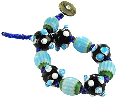 Women Bracelet /Black& Blue Bumpy & Tube Glass Beads/ Antique Gold Button Toggle/ Beads size approx. 4 to 12mm/ Bracelet Length approx. 7.65