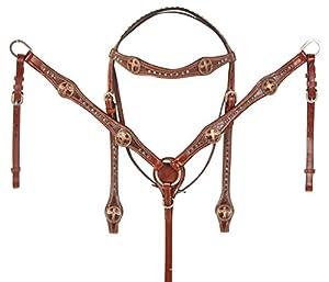 Western Pleasure Trail Amazing Gator Leather Cross Concho Show Horse Tack Bridle Breastplate