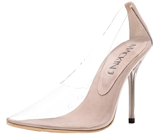284f1f7617a3 Mackin J 260-1 Transparent Clear Pointed Pointy Toe Slip On Stiletto High  Heel Pumps Nude