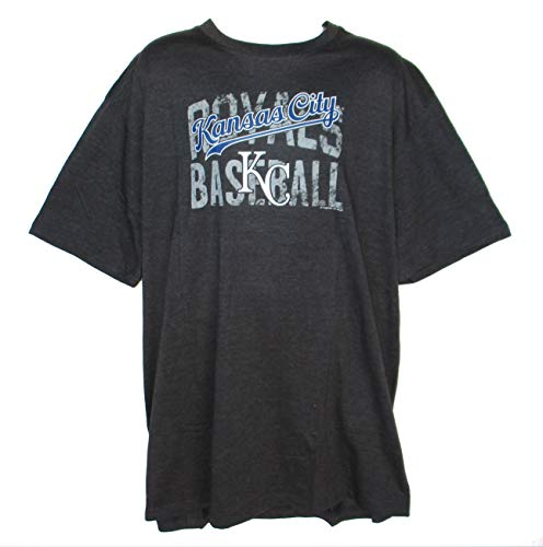 (Majestic Athletic Kansas City Royals Men's 2X-Large Tall 2XLT Distressed Logo Shirt - Charcoal)