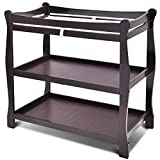Costzon Baby Changing Table, Infant Diaper Changing Table Organization, Newborn Nursery Station with Pad, Sleigh Style Nursery Dresser Changing Table with Hamper/ 2 Fixed Shelves (Espresso)