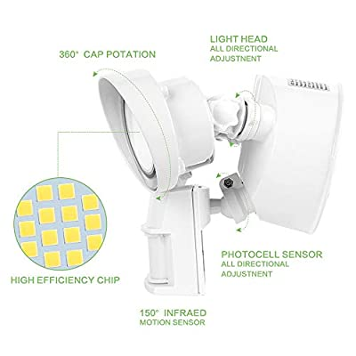 MORSEN LED Security Light with Motion Sensor, 28W LED Flood Light Indoor Outdoor IP65 Waterproof 2800LM 5000K Wall Light, ETL- Certified, 2 Adjustable Head for Entryways, Stairs, Yard and Garden