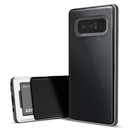 Galaxy Note 8 Case, DesignSkin [Slider] Sliding Card Holder Slot 3-Layer Design Cushion Bumper Protection Shock Absorption Shockproof Extreme Heavy Duty Wallet Cover for Galaxy Note 8 (Midnight Black)