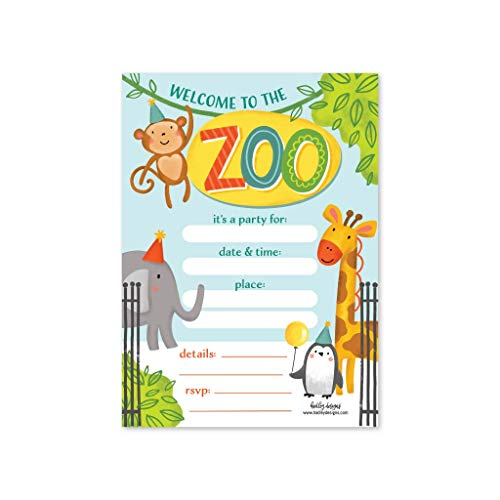 Jungle Birthday Ideas (25 Zoo Birthday Invitation, Little Kids Jungle Safari Party Invite, Elephant Animal Giraffe Bday Theme Idea, Boy or Girl Wild Monkey Penguin Baby Shower Supplies, Printed or Fill in The)