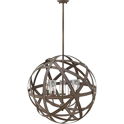 Outdoor Pendant 5 Light Fixtures with Vintage Iron Finish Metal Material Candelabra Bulb 27