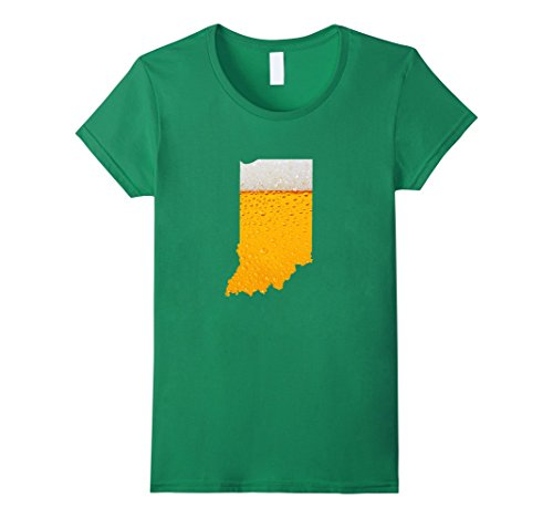 Indiana Beer - Womens I Love Beer Map of Indiana State Flag Funny T Shirt Gifts XL Kelly Green