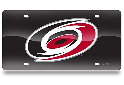 Rico Industries NHL Carolina Hurricanes Laser Inlaid Metal License Plate Tag LZC8001 6 x 12 6 x 12 Inc Black