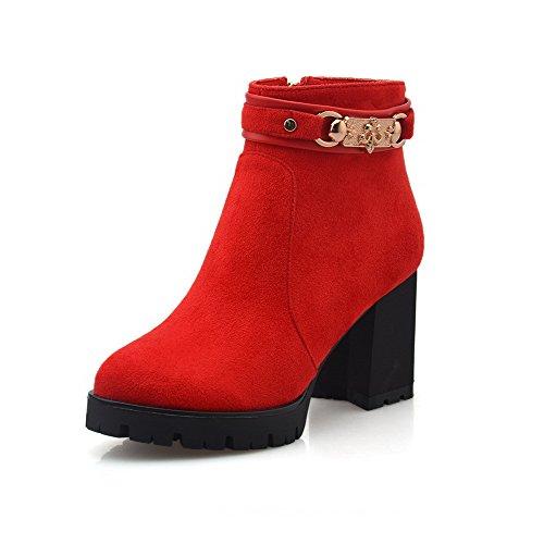 AllhqFashion Damen Hoher Absatz Gemischte Farbe Rund Zehe Mattglasbirne Schnüren Stiefel, Weinrot, 42