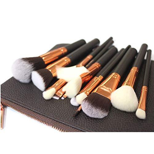 Makeup Brush Set 15 PCs Professional Makeup Brush Set with Case Foundation Brushes Face Powder Brush Eyeshadow Brushes Kit (Rose Golden)