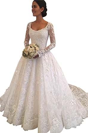 XJLY Princess Long Sleeve Empire Waist Lace Wedding