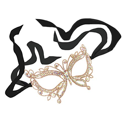 Sparkling Crystal Stone Masquerade Ball Venetian Butterfly Mask in Peach