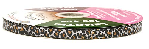 Mandala Crafts Grosgrain Ribbon from Polyester Fabric for Gift Wrap, Hair Ties, Bows, Luggage, Scrapbooks, Decoration, Sewing (3/8 Inch 10mm, Leopard Print)