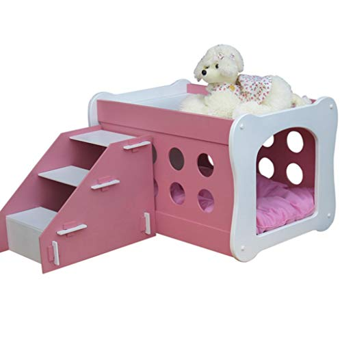 HOUYUANSHUN 3-Step Pet Stair, with Stairs Pet Double-Decker House Wooden Paint Pet Villa Duplex Kennel House Dog Chalet Dog Bed Cat House PET (Color : Pink)