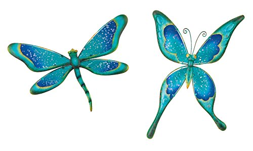 Regal Art & Gift Watercolor Dragonfly and Butterfly Metal Glass Wall Decor
