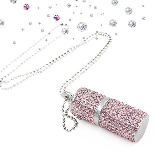 WooTeck USB Flash Drive,Bling Rhinestone Diamond Crystal Glitter Lipstick Case Shining Jewelry Necklace,64GB,Sakura Pink