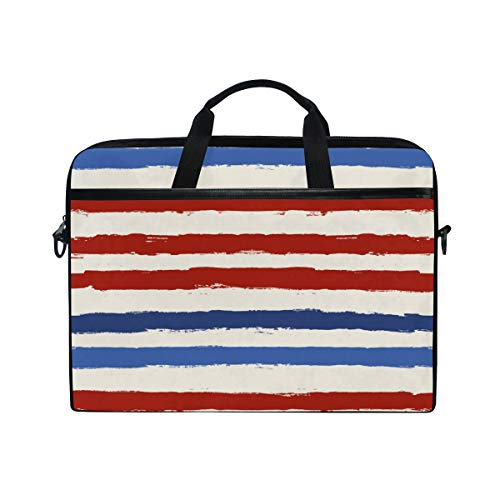 - TARTINY 15-15.4 Inch Laptop Bag USA Color Style Red Blue Striped Shoulder Messenger Bags Sleeve Case Tablet Briefcase with Handle Strap