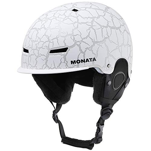 (MONATA Adult Ski & Snowboard Helmet for Men and Women Winter Snow Sports Protect - Adjustable Large Size 23.22-24 Inches(White))
