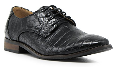 DF01 Men Dress Loafers with Alligator Prints Lace up Oxfords Patent Dress Shoes (11 D(M) US, Black) by Enzo Romeo