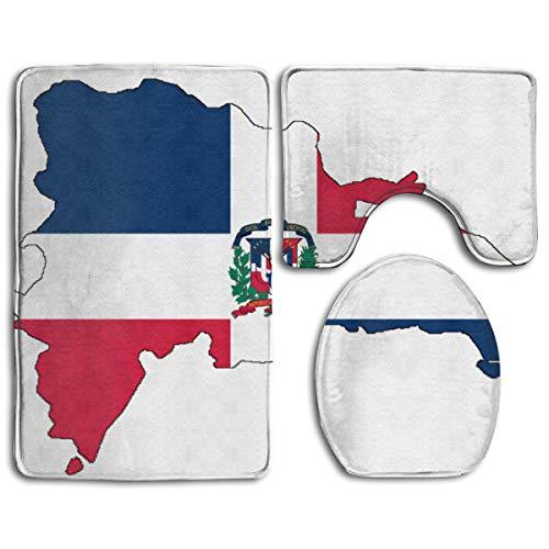 Dominican Republic Map Flag Soft Comfort Flannel Fashion Bathroom Rug Mats Set 1315 Piece Anti-Skid Pads Bath Mat ()