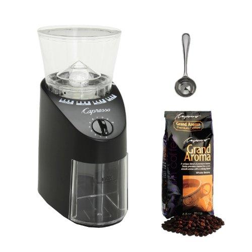 Capresso Jura Infinity 560.01 Conical Burr Coffee Grinder Black + Capresso Grand Aroma Whole Bean Coffee (8.8oz) Swiss Roast Regular + Accessory Kit (Infinity Coffee Grinder compare prices)