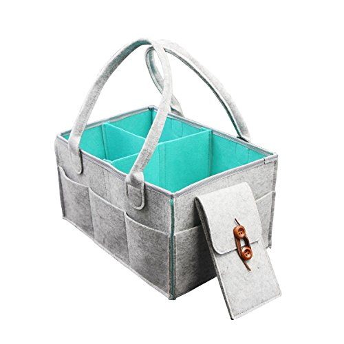 - Lightweight Baby Diaper Caddy Organizer Basket Carry On Travel Bag with Changeable Compartments and iPhone 8 Plus Pocket Bag, Newborn Registry Must Haves
