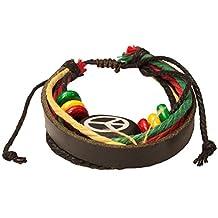 Barbra Collection Rasta Peace Sign Leather Bracelet