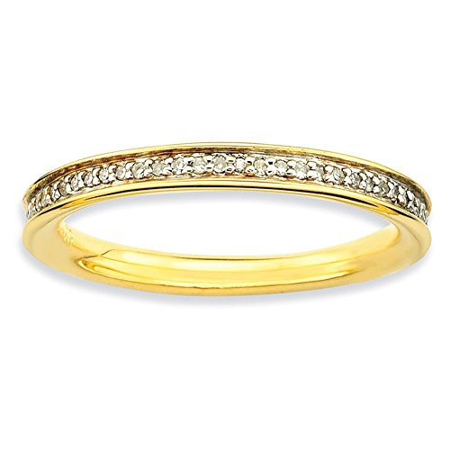 Roy Rose Jewelry Sterling Silver Stackable Expressions & Diamonds Gold-plated Ring Size 7 by Roy Rose Jewelry