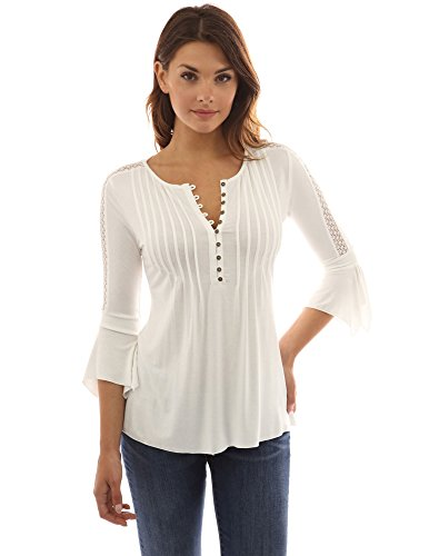 PattyBoutik-Womens-Henley-Lace-Inset-34-Bell-Sleeve-Blouse-Off-White-M