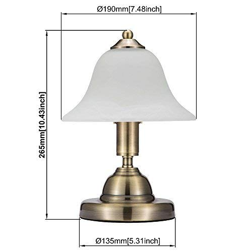 JINZO Portable Mushroom Table Lamps For Bedroom With Touch Sensor Dimmable E12 Globe Bulb Antique Brass Finished