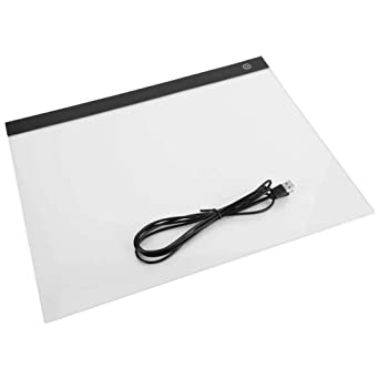LED Light Box A4 Ultra-Thin USB Powered Adjustable Light Pad for Tracing,Drawing Box Copy Tracing Stencil Tattoo Board Table with Multifunction Holder Drawing Board Clip