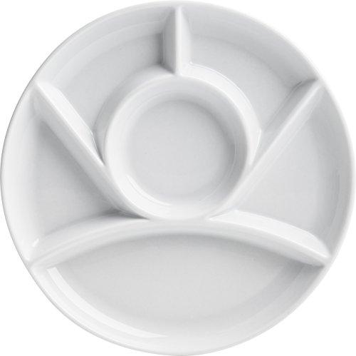 Trudeau Maison White Stoneware 9 inch Round Fondue Plates - Set of 4