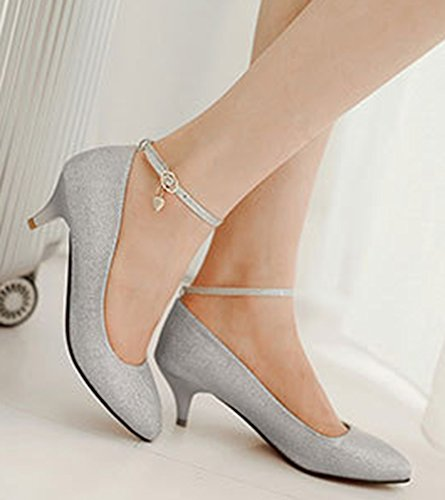 Aisun Womens Trendy Pointed Toe Low Cut Ankle Wrap Buckle Strap Dress Low Heels Pumps Party Bridal Stiletto Shoes Silver bSUTqLUcG