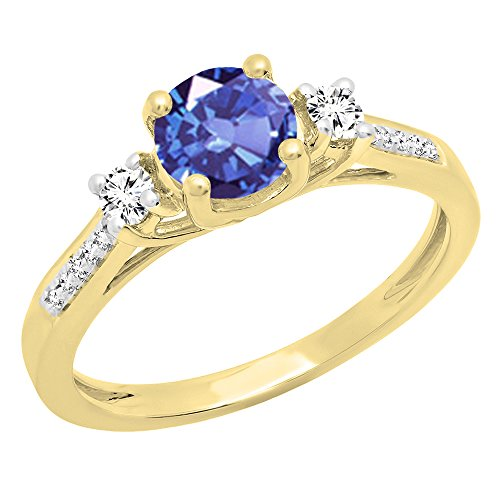 18K Yellow Gold 5 MM Round Tanzanite, White Sapphire & Diamond Ladies Engagement Ring (Size 7.5) (Ring Tanzanite Jewelry Gold White)