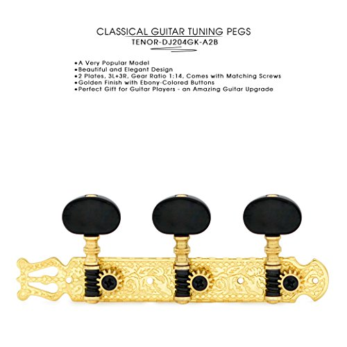 DJ204GK-A2B TENOR Classical Guitar Tuners, Tuning Key Pegs/Machine Heads for Classical or Flamenco Guitar in Gold Plated Finishing with Ebony colored Buttons.
