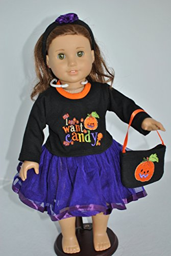 Unique Doll Clothing Halloween Costume with Candy Design for 18 Inch Dolls Including the American Girl -