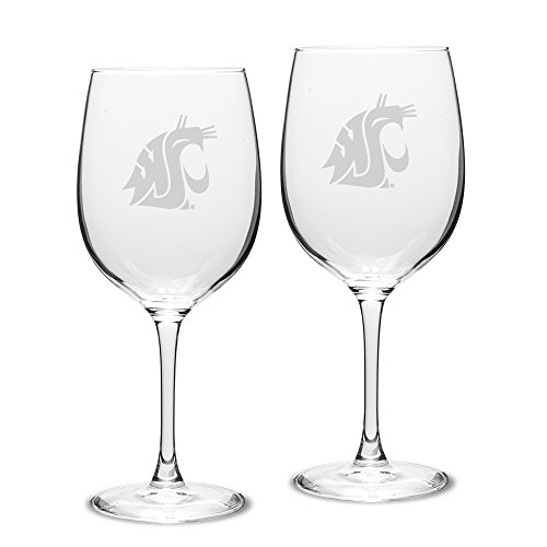 - NCAA Washington State Cougars Adult Set of 2 - 19 oz Robusto Red Wine Glasses Deep Etch Engraved, One Size, Clear