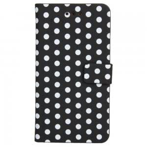 Card Polka Dots Leather Case for Blackberry Z10 Black White Dot