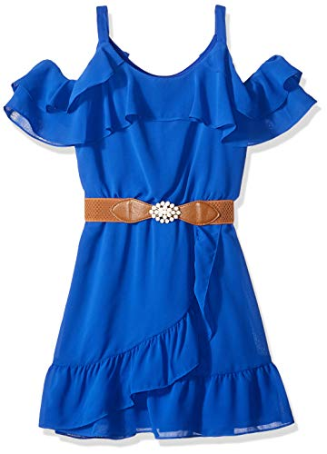Amy Byer Girls' Big Cold-Shoulder Ruffle Front Dress, Neon Cobalt, 10