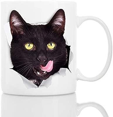 Taza de Cafe Gato Negro Sediento Divertidos y Personalizados ...
